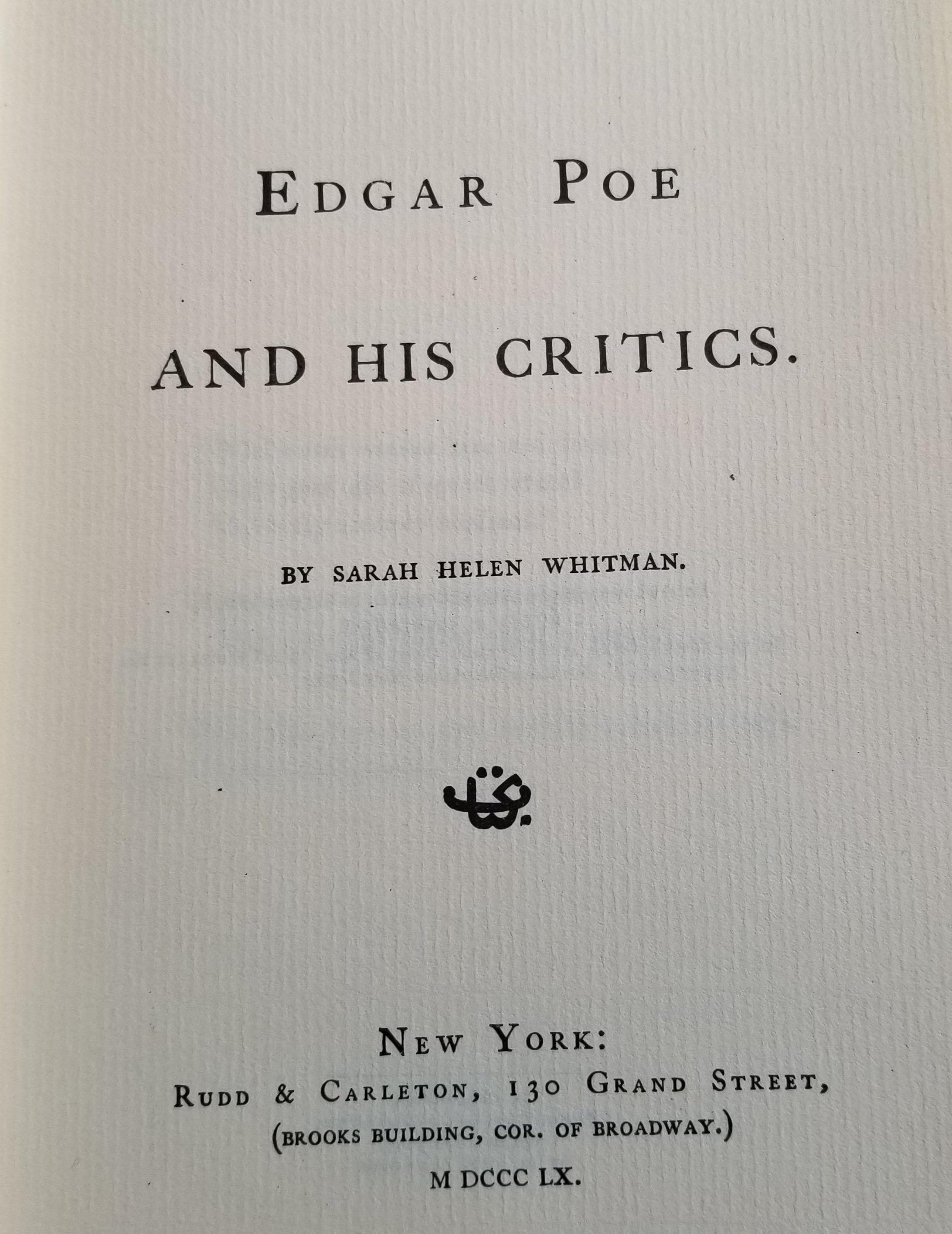 Image for Edgar Poe and His Critics