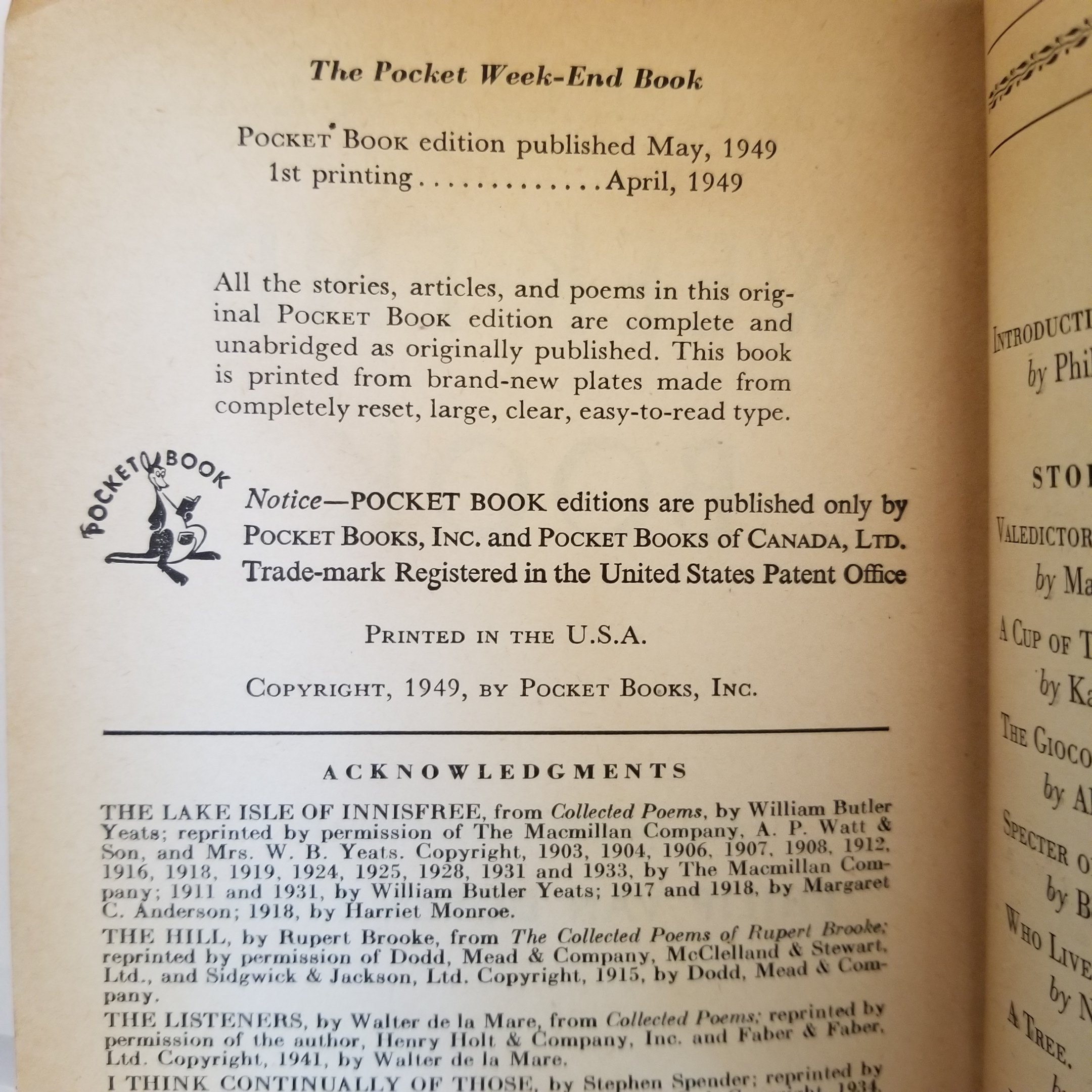 Image for The Pocket Week-End Book (Pocket Book #586)